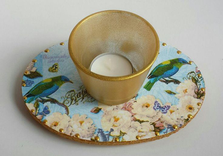 Napkin,Serviettentechnik,  Deco Light, Teelicht, Blumen, Flowers, Vogel, Bird, Perlenstift