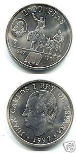 manueduc 2000 Pesetas ESPAÑA 1997 Don Quijote y Sancho Panza 18,2 Gr. PLATA
