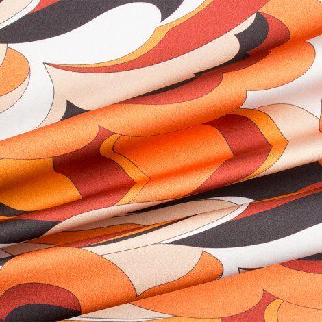 Orange/Rust Multi Coloured Silk Satin