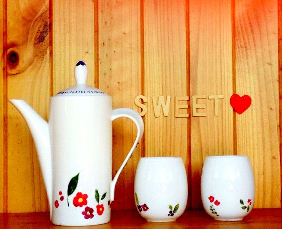 Hand Painted Scandinavian Teapot and tea cups set by yessweetheart, $60.00