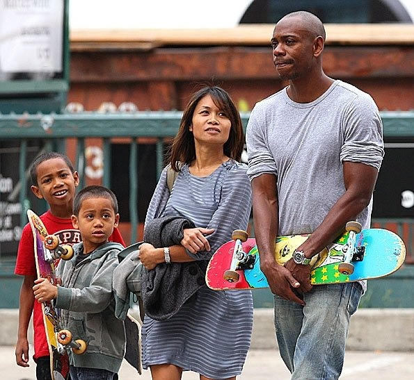 Dave Chappelle and his wife, Elaine and sons, Sulayman and Ibrahim.