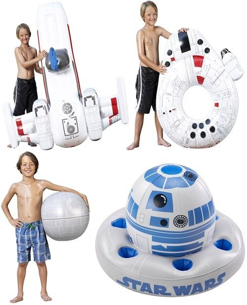 Star Wars pool toys  @Katie Fernandez don't you think these would look awesome next to my throne made of pool noodles!! LOL! And @Courtney Cox it could hold your beer! So you don't have to let them get cool at the bottom of the pool!!!