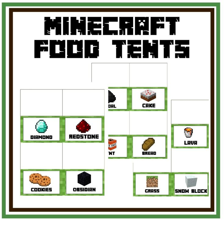 FREE Minecraft Food Tents for Minecraft Party                                                                                                                                                                                 More