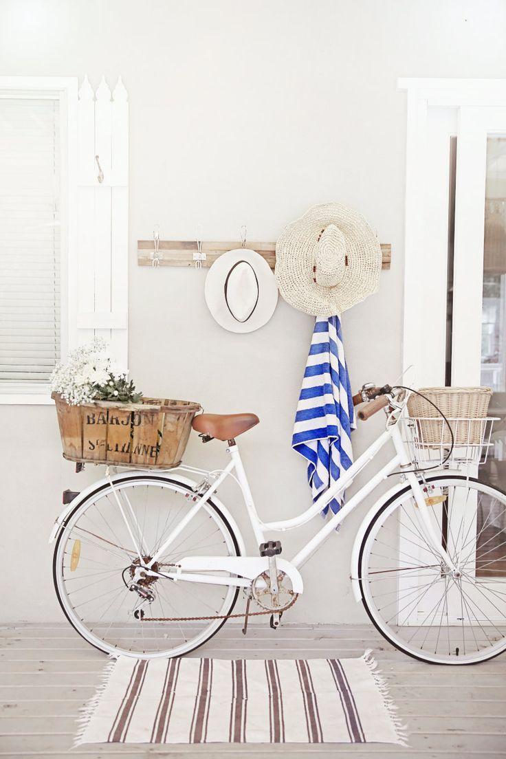 love a white cruiser bike, old french basket, nautical stripes, deck and beach hats x