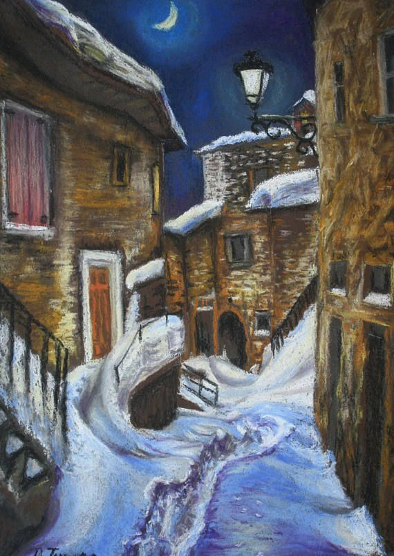 Original pastel painting winter cityscape night city moon