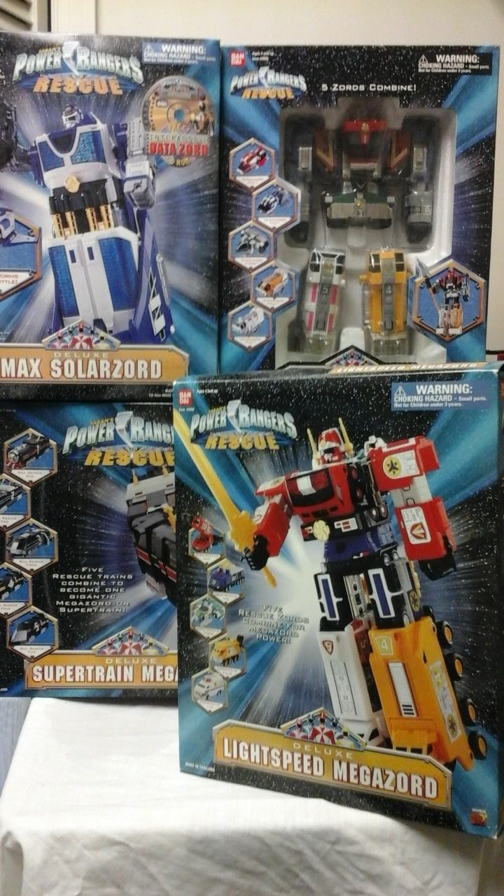 Power Rangers Lightspeed Rescue Megazord Collection Omega Supertrain Solarzord
