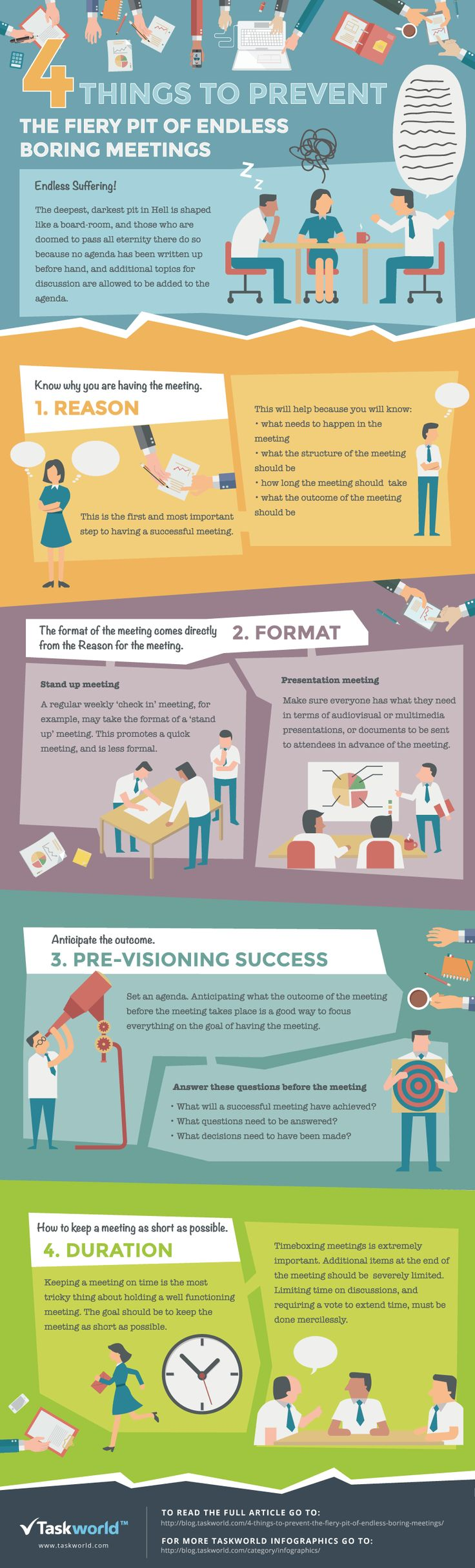 4 Things To Prevent The Fiery Pit of Endless Boring Meetings #infographic #Meetings #Business #Productivity