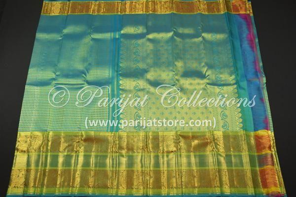 Turquoise Blue Jacquard Silk Saree with Grand Zari Pallu & Bavanchi Design Border