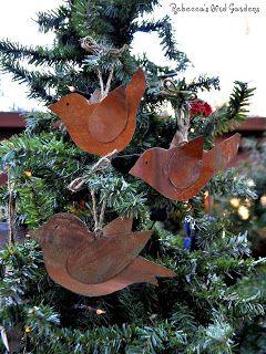 Distressed metal bird ornaments!