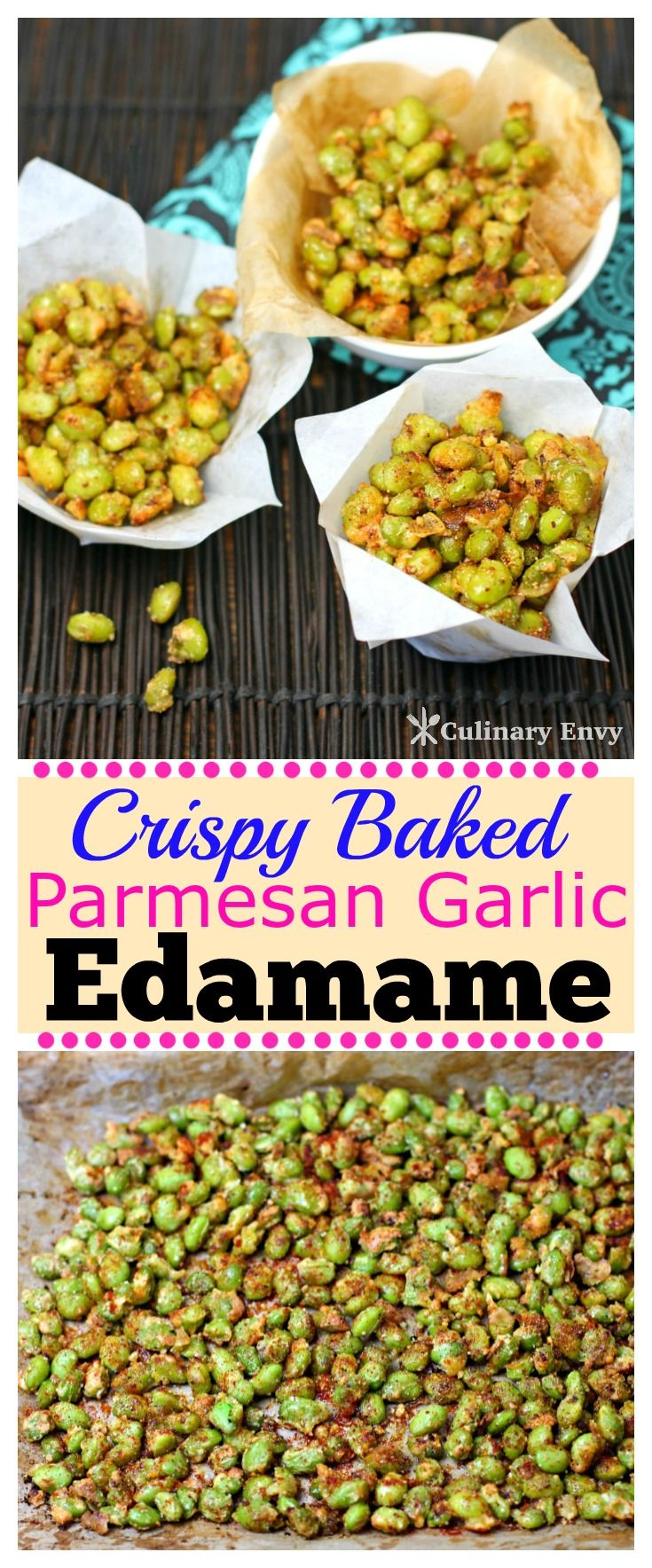 Crispy Baked Parmesan Garlic Edamame is an absolutely delicious high-protein and healthy snack. It takes minutes to prepare and is the ultimate in salty/sweet comfort food munchies! Click to read more!