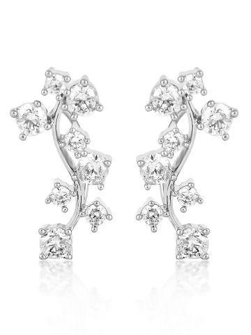18K White Gold Plated Cz Diamond Vine Earring For Women.