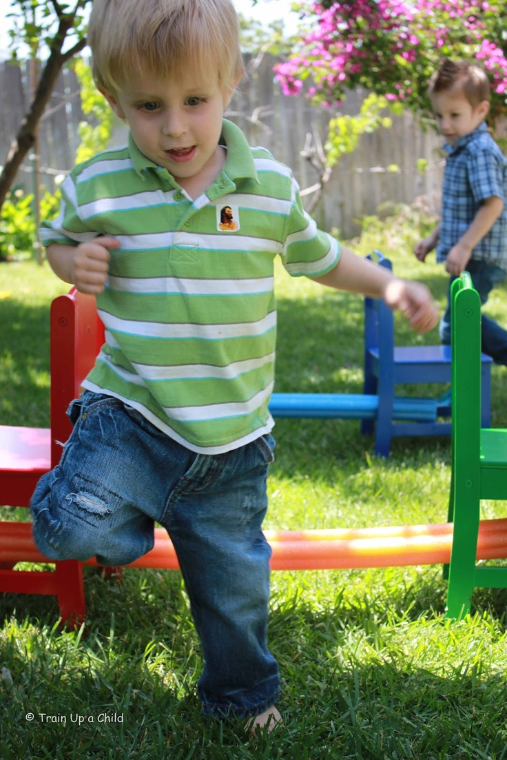 {Pool Noodle Backyard Obstacle Course}  Kids love this type of stuff from our mommy & me class.