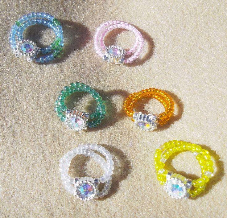 Double 'Magic stretch' Strand Aurora Borealis Toe Ring. Many Colours