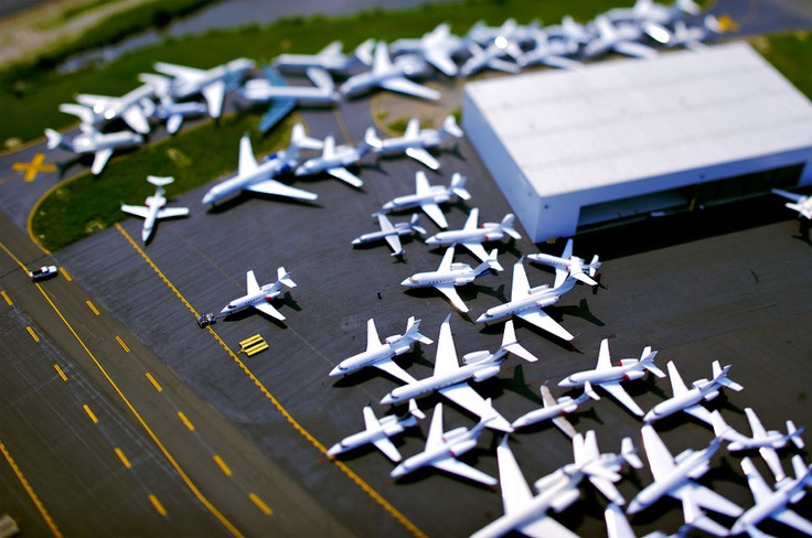 Tilt shift photo of dozens of embroiled private jets in a maze of congestion on one of the taxiways at Teterboro airport in New Jersey. Photo by: Vincent Laforet