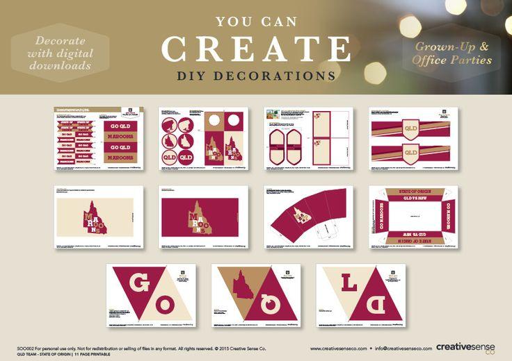 QLD Maroons Team State of Origin DIY Party Printable | Creative Sense Co
