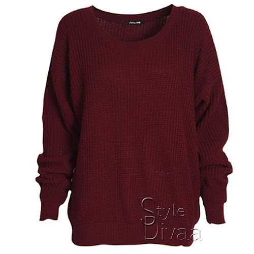 LADIES OVERSIZED BAGGY JUMPER KNITTED WOMENS SWEATER CHUNKY KNIT TOP JUMPERS | eBay - £9.79