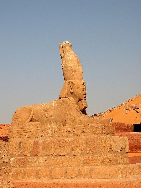 A sphinx of Ramesses II from his Temple at Wadi es-Sebua (Nubia, southern Egypt)