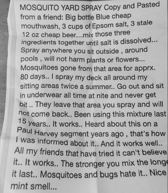 Mosquito Yard Spray Listerine+Beer+Epsom