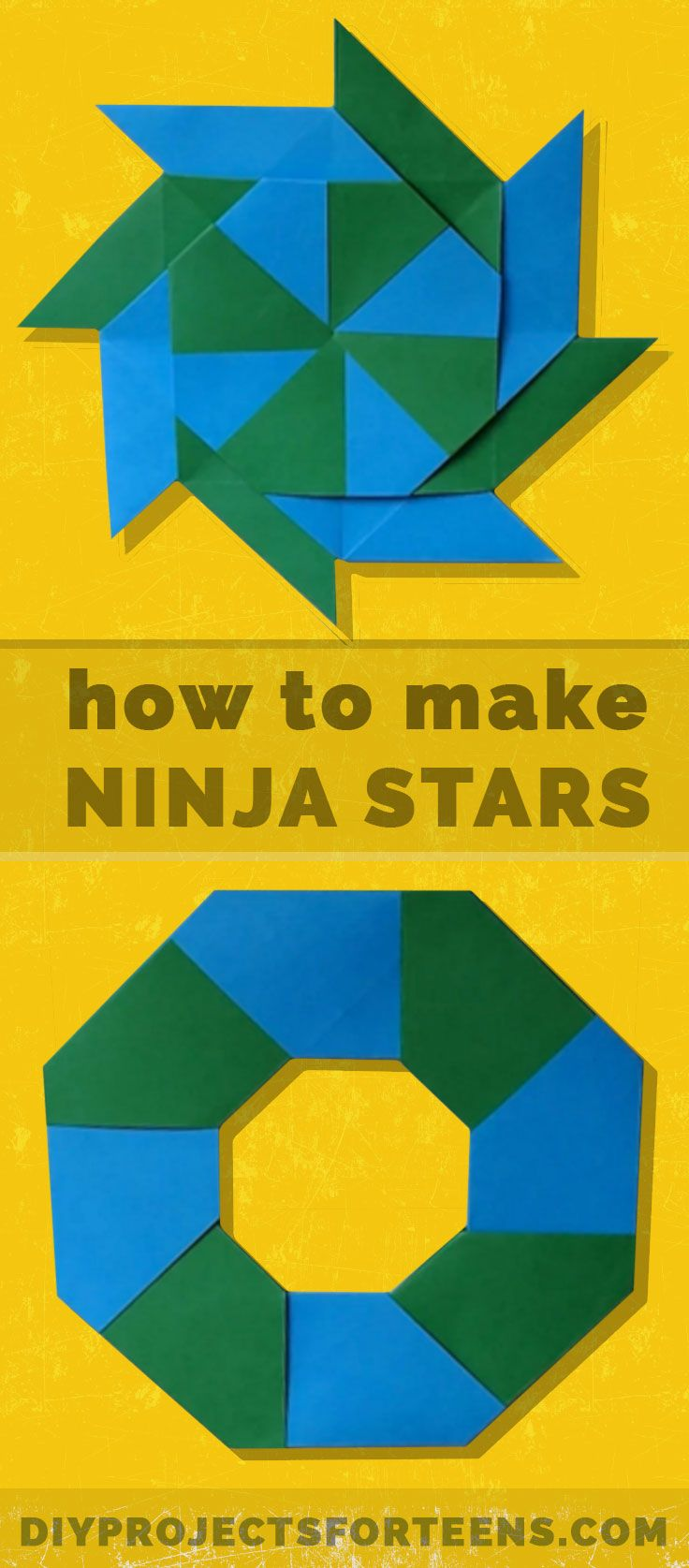 Crafts For Boys - How To Make Ninja Stars. Cool Paper Crafts for Kids and Teens. Boys and Girls love these Cheap but Cool DIY Projects You Can Make At Home http://diyprojectsforteens.com/how-to-make-ninja-stars/