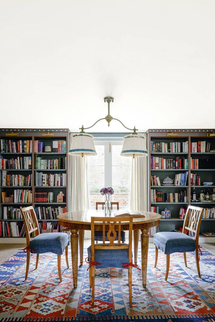 Study Room Glass: Beata Heuman, Dining Room Blue