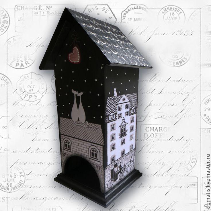 Купить Чайный домик Ночной город (кошкин домик, чайный домик с котами). - чайный…