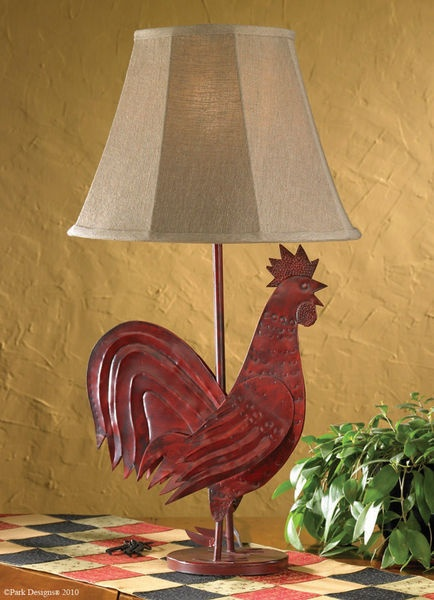 Delightful Red Rooster Country Table Lamp With Shade | Park Designs   Primitive Home  Decor | EBay