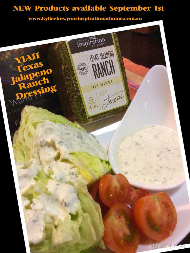 YIAH Texas Jalapeno Ranch Dressing 1/2 cup Mayo *1/4 cup sour cream 1 teaspoon Texas Jalapeno Ranch Dip Mix *Alternative – replace the sour cream with ¼ cup milk (you can use buttermilk) to thin your dressing to desired consistency Place into a jar, lid on, SHAKE SHAKE SHAKE Refrigerate until ready to use... The joy of our products is that you can make as little or as much as you like when you like..