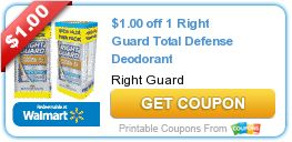 Coupon $1.00 off 1 Right Guard Total Defense Deodorant http://azfreebies.net/coupon-1-00-1-right-guard-total-defense-deodorant/