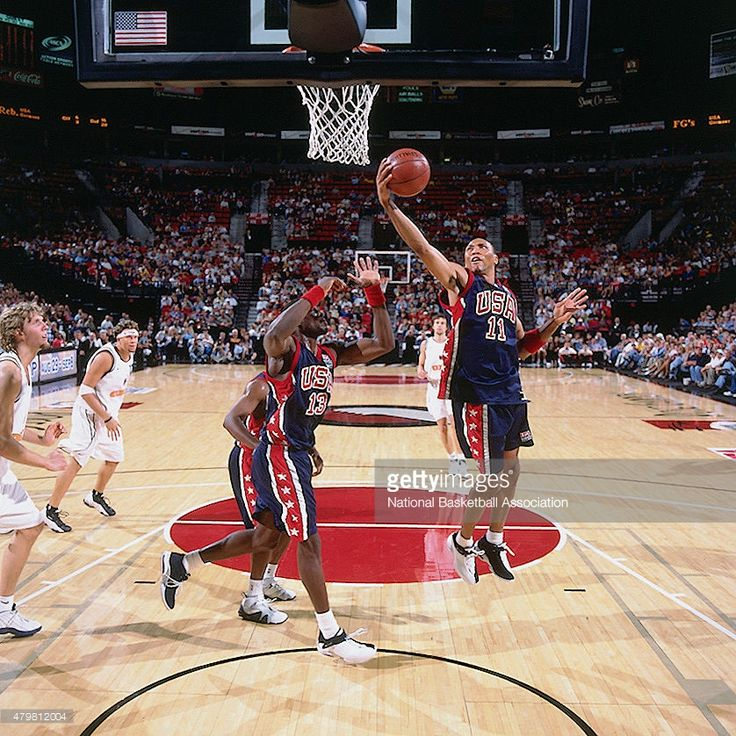 Shawn Marion #11 of the U.S. Mens Basketball Team grabs a rebound against Germany circa 2002 during the 2002 FIBA Championships at the RCA Dome in Indianapolis, IN.
