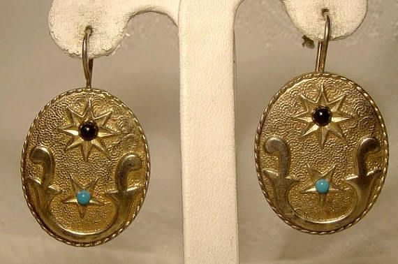 Portuguese Gilt Sterling Silver Earrings with Glass Stones