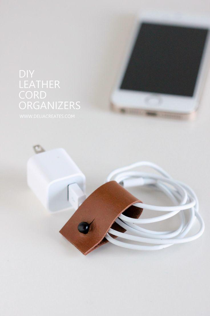 Leather cord organizers | Delia Creates.