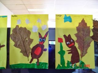 Maro's kindergarten: Squirrel & leaves collages!   Cute!