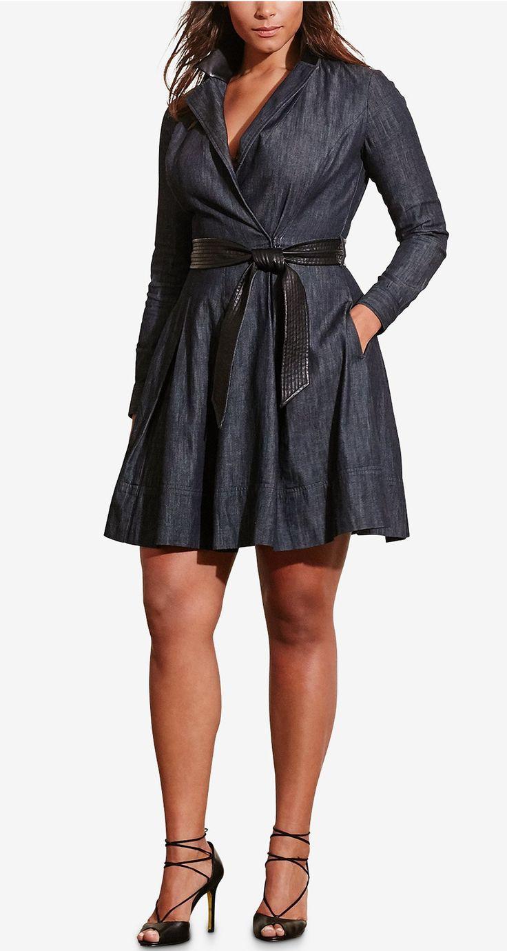 Plus Size Denim Wrap Dress