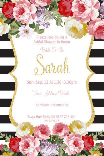 High Tea Bridal Shower Invitation -Floral Bridal Shower Invitation & Floral…