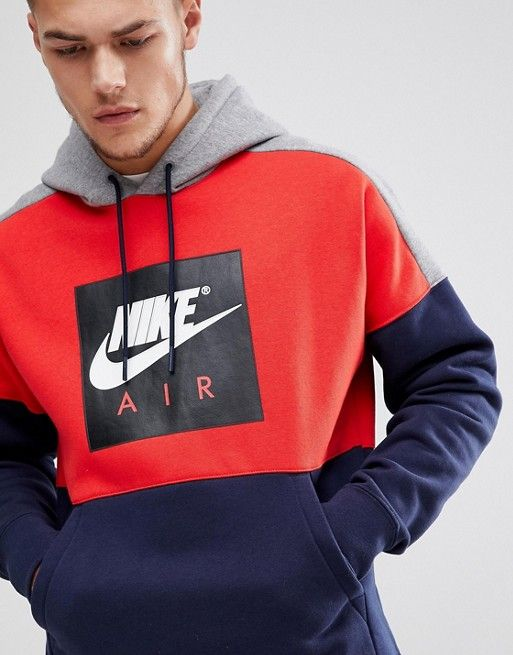 5249189faabd80 Nike Air Pullover Hood With Large Logo In Navy 886046-657