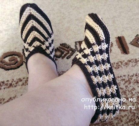 Черно - белые тапочки спицами. Работа Татьяны Наконечной вязание и схемы вязания