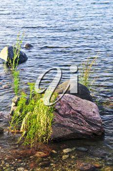 Rocks in water at the shore of Georgian Bay, Canada. Awenda provincial park.