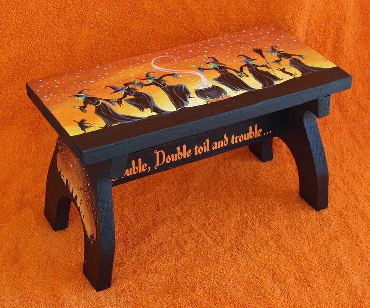 ooak halloween folk art handpainted wood stool witch black cat cauldon stars
