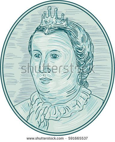 Drawing sketch style illustration of an 18th century European empress bust with crown looking to the side viewed from front set inside oval shape.   #empress #sketch #illustration
