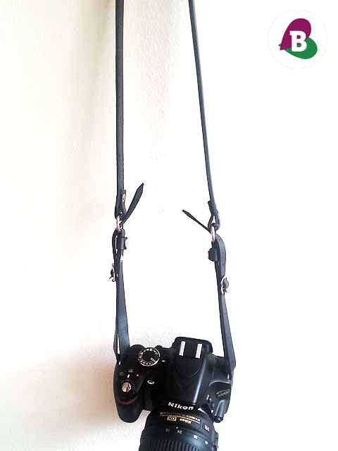 Leather Camera Strap  Black & Silver  Handmade by becauseilikeitAU
