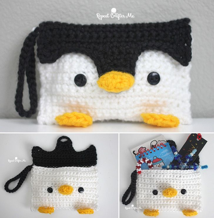 Crochet Penguin Pouch | Add an adorable spin to your pencil case or clutch bag with this free pattern