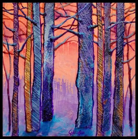 FEBRUARY MORNING 12011, contemporary mixed media forest tree abstract Carol Nelson Fine Art -- Carol Nelson