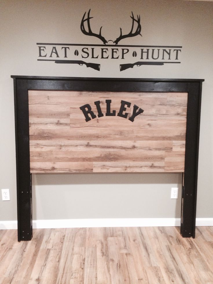 Boys hunting room theme camo headboards rustic bed