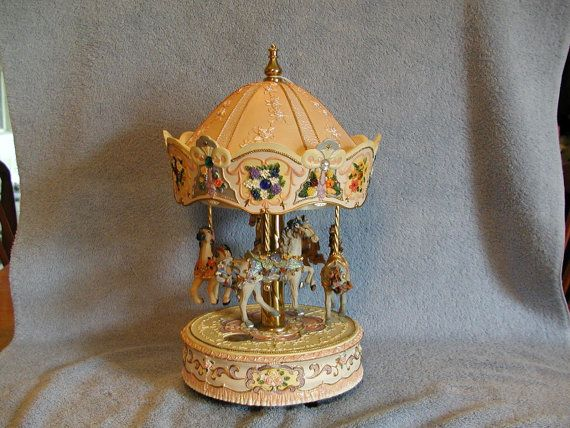 Carousel Music Box  Rare Four Horse made by by SandECollectibles, $77.95