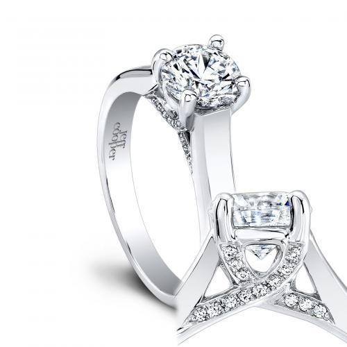 "Jeff Cooper ""Geneva"" engagement ring with pave diamond lattice setting. Style 1701"