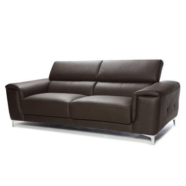 Canape Cuir Design 3 Places Avec Tetieres Relax Nevada Cuir De