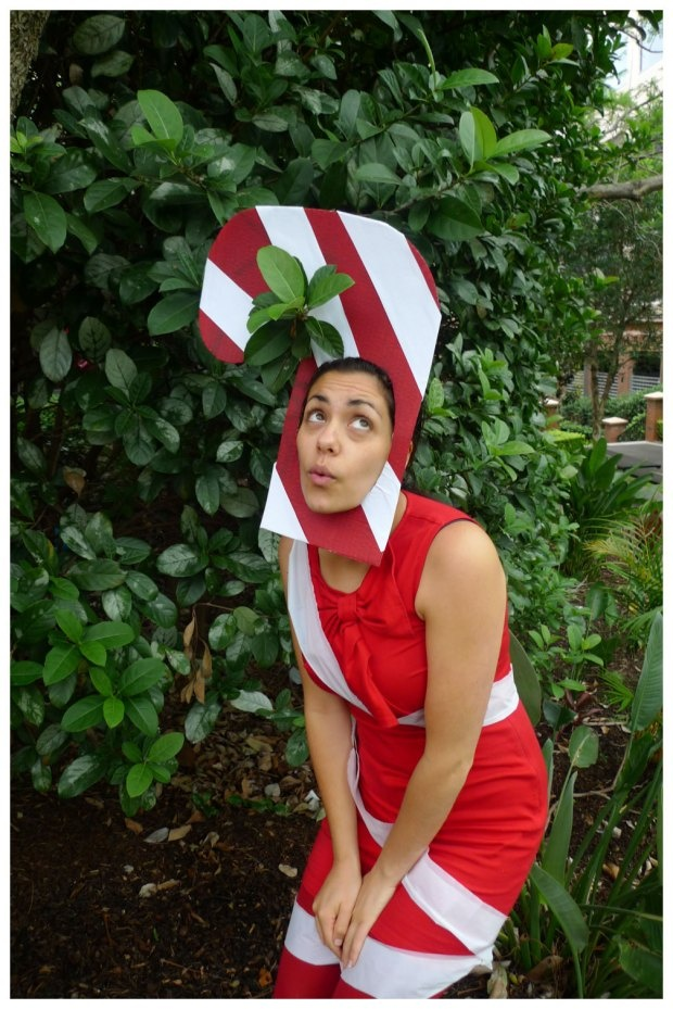Day 173: Candy Cane christmas ornament #Christmas #costume #12daysofChristmas.Theme Me is a blog that follows a personal challenge to dress to a different theme every day for a whole year.