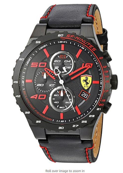 Scuderia Ferrari Men's Quartz Stainless Steel and Black Leather Watch #Ferrari