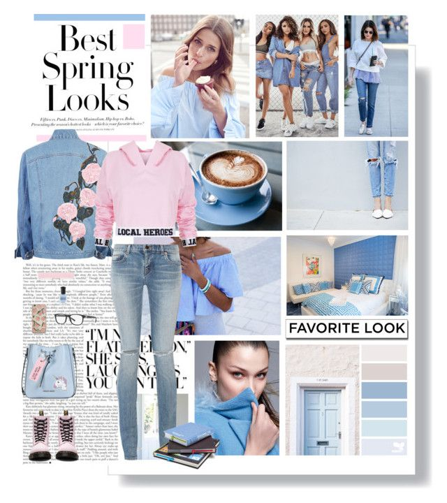 Spring has returned. The Earth is like a child that knows poems by kikusek on Polyvore featuring polyvore, fashion, style, Local Heroes, Yves Saint Laurent, Dr. Martens, Armani Jeans, Various Projects, FOSSIL, Armani Exchange, H&M, clothing, Spring, Pink, jeans and LOCALHEROES