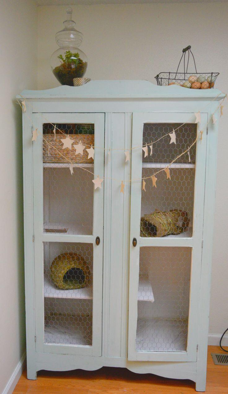 DIY armoire rabbit hutch Vintage armoire turned indoor bunny cage bunny condo